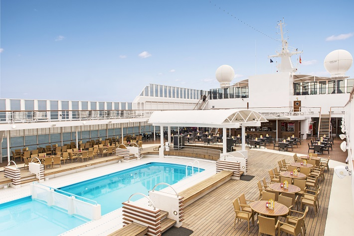 The pool deck on-board MSC Sinfonia on a sunny day