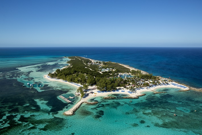 Paradise island, Coco Cay, off the coast of the Bahamas, surrounded by bright blue sea