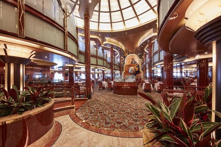 Elaborate entrance to the Britannia restaurant on-board Cunard Queen Victoria