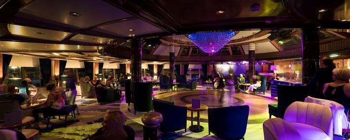 The stunning Yacht Club bar on-board Cunard Queen Victoria