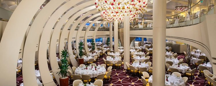 Opulent Main Dining room on-board the Koningsdam cruise ship