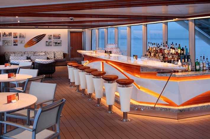 Welcoming contemporary Sea Views bar on-board HAL Koningsdam
