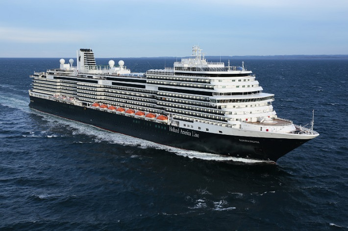 Holland America Line's Koningsdam cruise ship sailing across the ocean