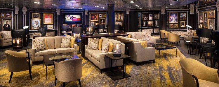 Contemporary lounge area on a Holland America Line ship
