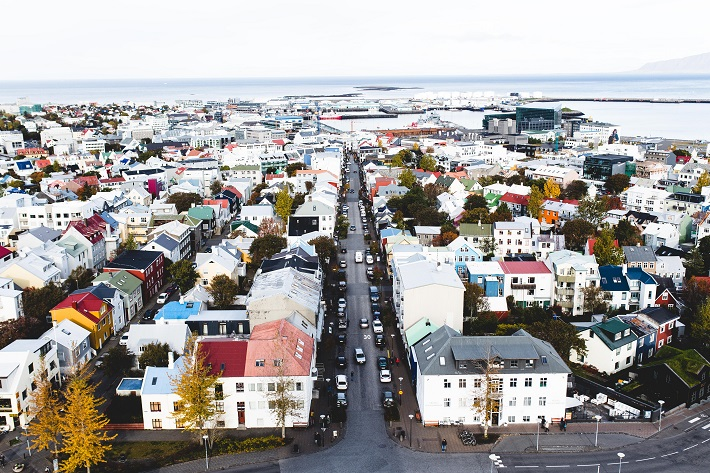 View of residential area over Iceland