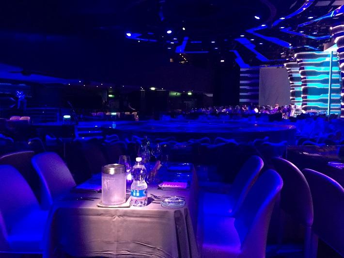 Cirque du Soleil theatre bathed in blue light on-board MSC Meraviglia