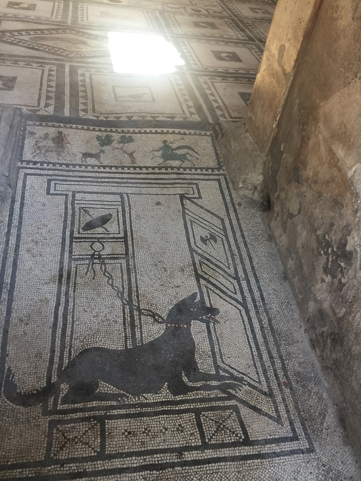 An ancient mosaic at the ruins of Pompeii during a cruise excursion