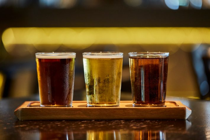 A selection of craft beers in a bar on-board a P&O Cruises ship