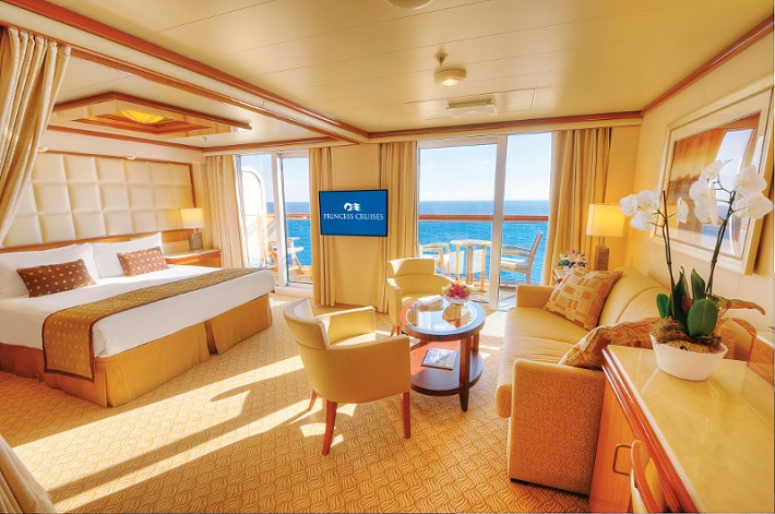 Spacious accessible stateroom on-board Princess Cruises' Royal princess