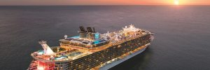 Royal Caribbean cruise ship, Allure of the Seas, sailing into the sunset