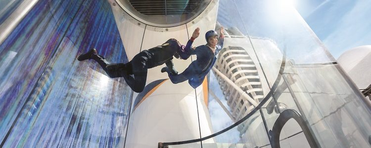 Teenager in the skydiving simulator on-board a Royal Caribbean cruise ship