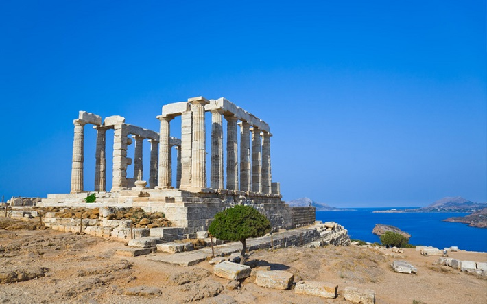 Temple ruins on a cliff top in Athens