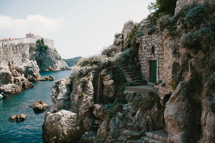 A hidden cove and hide out in a coastal cliff in Dubrovnik