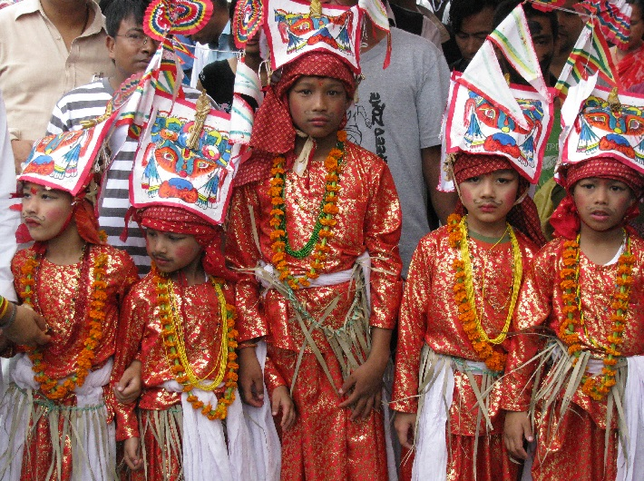 Children wearing traditional dress as part of the Gai Jatra Festival in Nepal