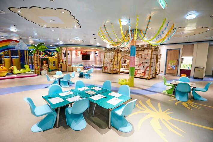Bright and fun interior of a kid's club on PO Azura
