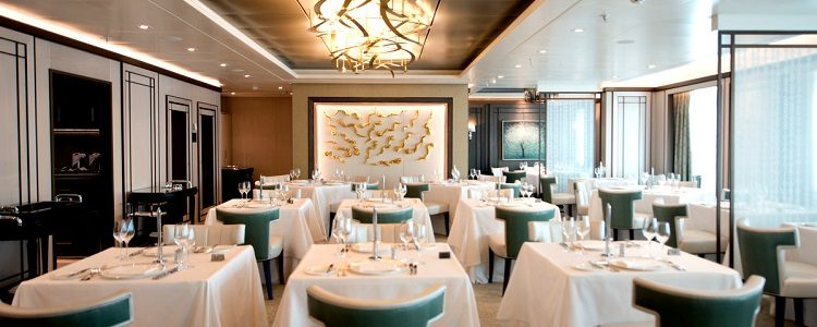 Sophisticated interior of The Epicurean restaurant on-board PO Cruises Britannia