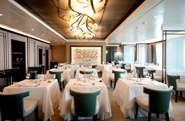 Sophisticated interior of The Epicurean restaurant on-board PO Cruises Britannia