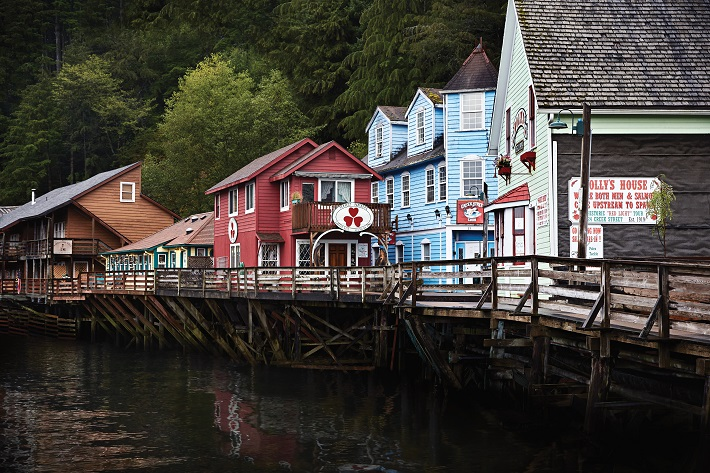 Colourful buildings bordering the water in Ketchikan in Alaska