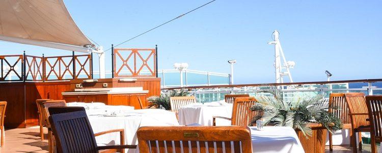 Al fresco area of the Epicurean restaurant on-board P&O Cruises Ventura