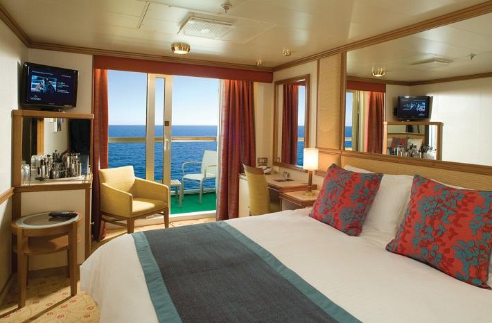 A classically-designed Balcony cabin on-board P&O Ventura