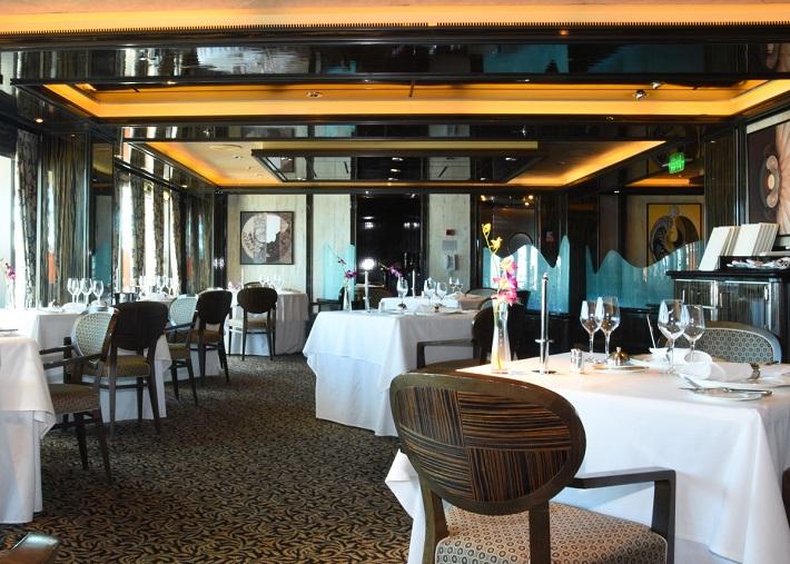 Classic interior of the Epicurean restaurant on-board P&O Ventura
