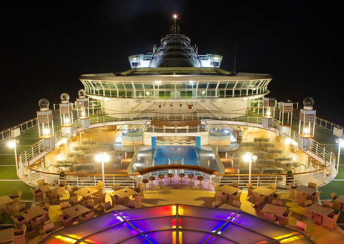 The stunning pool deck on-board P&O Cruises' Ventura cruise ship at night