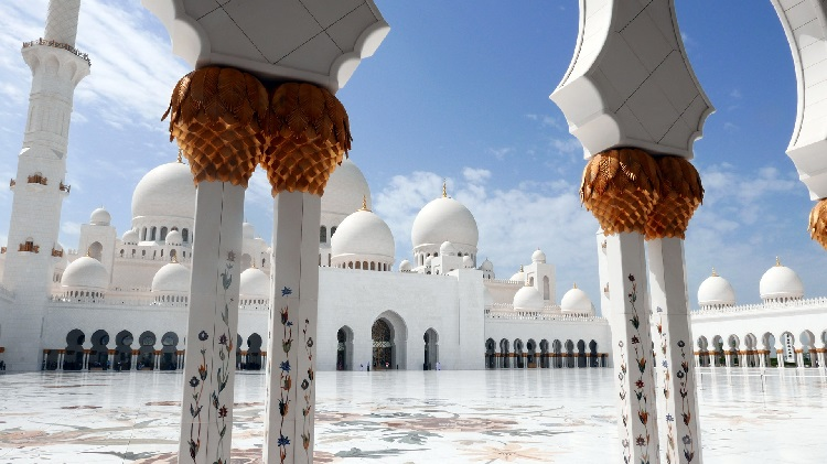 Floral pillars bordering the Sheikh Zayed Mosque in Abu Dhabi