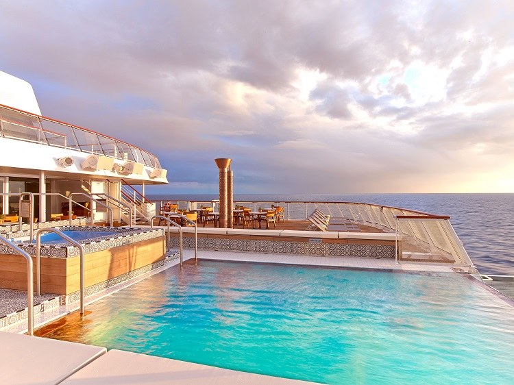 The infinity pool on the deck of a Viking Ocean cruise ship