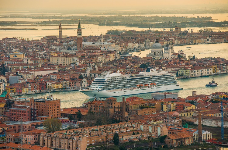 A Viking Ocean cruise ship sailing into Venice