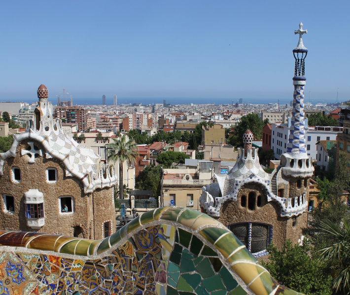 Winter sunshine beating down on Park Guell in Barcelona