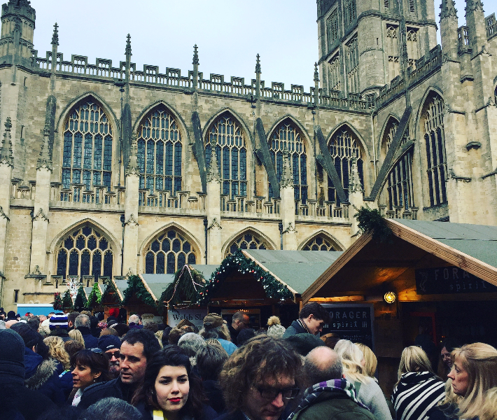 Crowds of people at the Bath Christmas markets