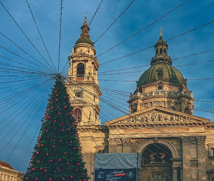 A Christmas tree in front of the town hall in Budapest