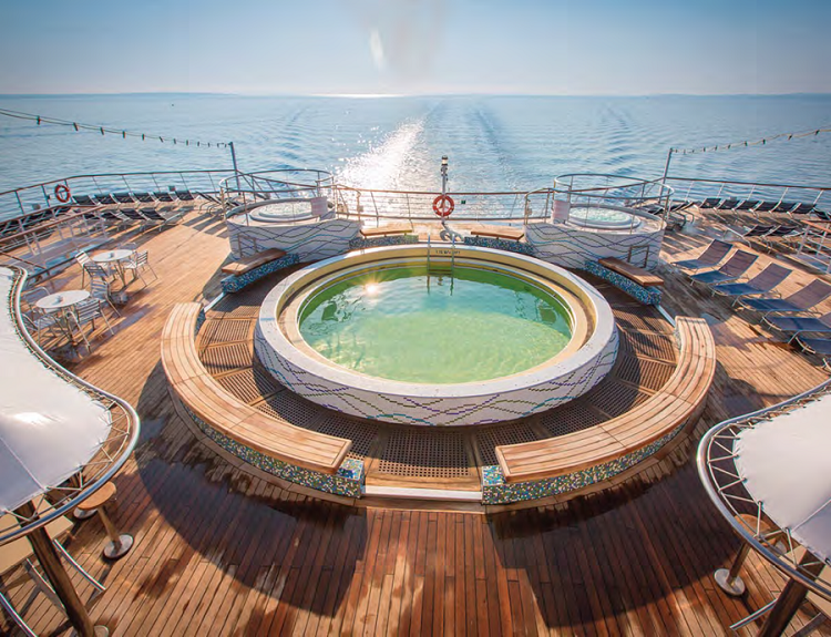A whirlpool on the pool deck of Cruise and Maritime's Magellan cruise ship