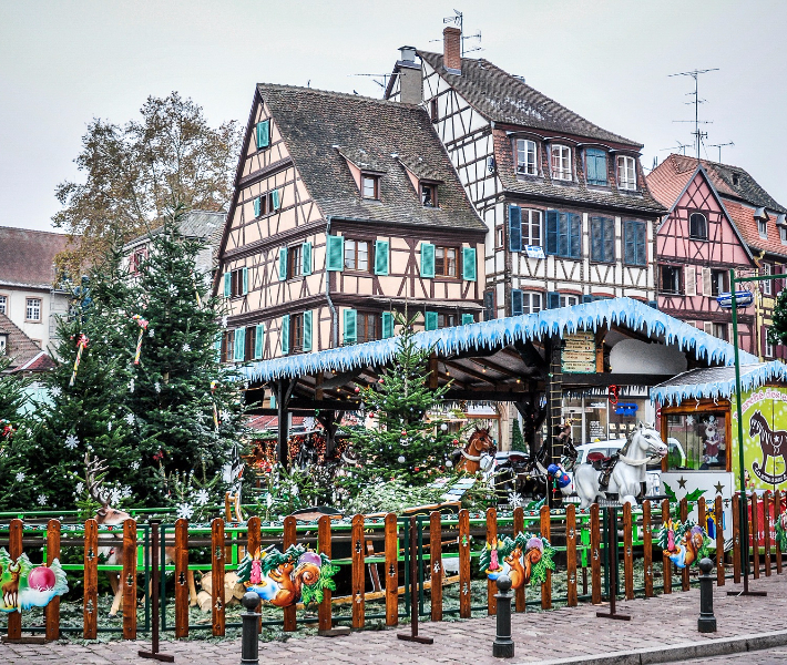 Magical Christmas market stalls in Colmar in France