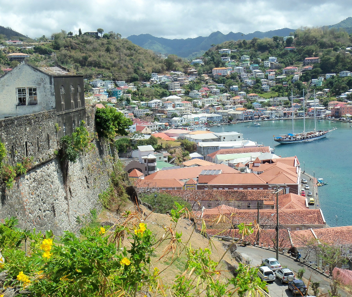 A coastal settlement in Dominica in the Caribbean