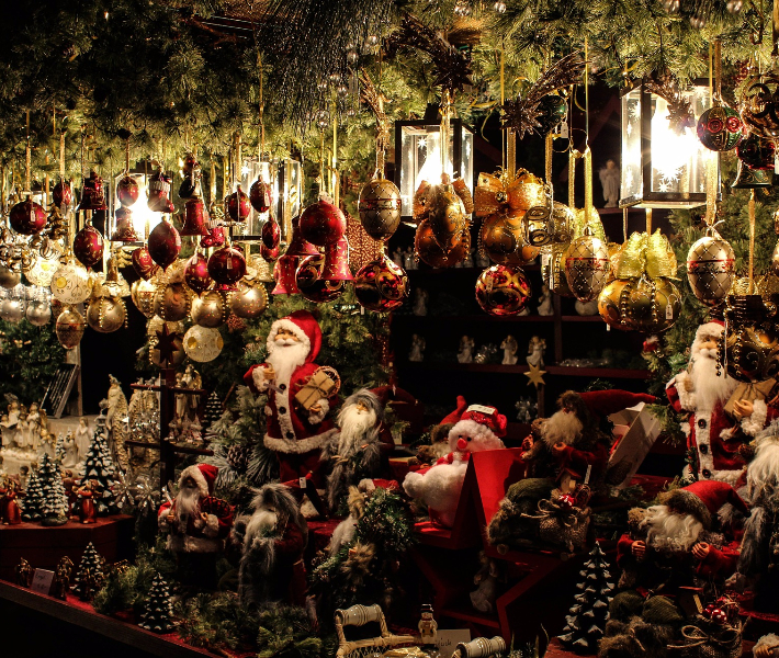 A stall of Santa statues at the Christmas market in Montreal