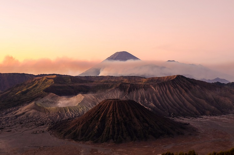 Clouds settling over the volcanoes of Mount Bromo on Java in Indonesia