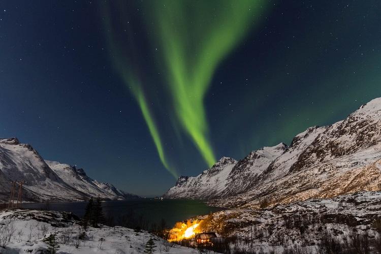 Green streams of aurora borealis dancing over Ersfjorden in Norway