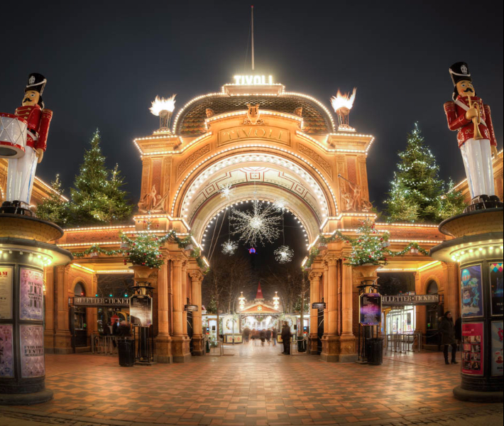 Lights illuminating Tivoli Gardens during the Christmas markets