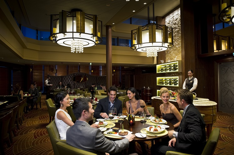 Friends dining in the Tuscan Grille on a Celebrity Cruises ship