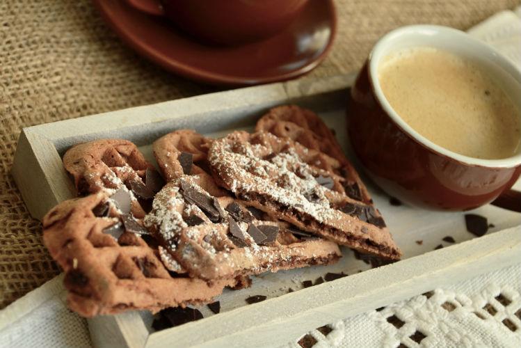Waffles and coffee dish