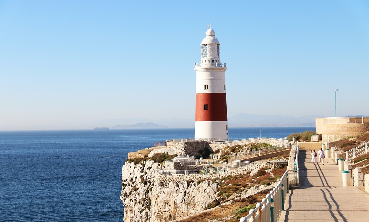 A picturesque lighthouse on the coast of Gibraltar
