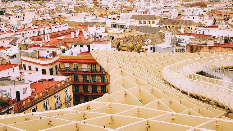 The Metropol Parasol installation in Seville on the Costa del Sol