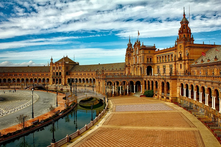 The stunning courtyard of Plaza de Espana in Seville in Spain