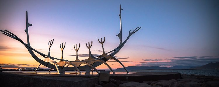 The Sun Voyager statue seen at the Old Harbour in Reykjavik at sunset