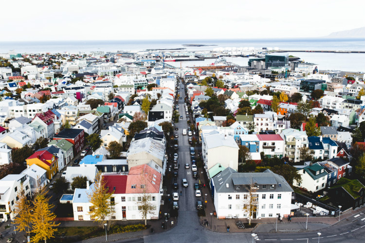 A panoramic view of the colourful houses in Reykjavik from the top of Hallgrimskirkja church