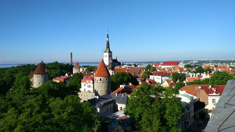 Medieval buildings lining the skyline of Tallinn in Estonia