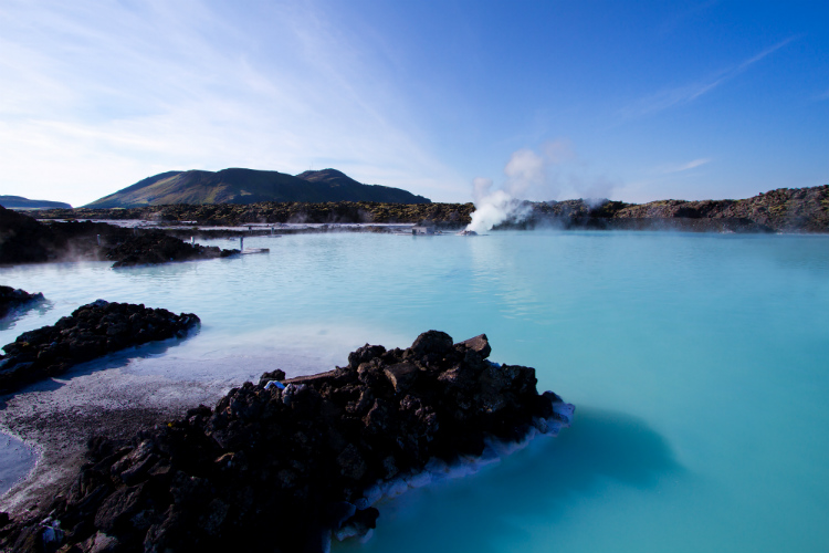 Steam rising from the geothermal Blue Lagoon near Reykjavik cruise port