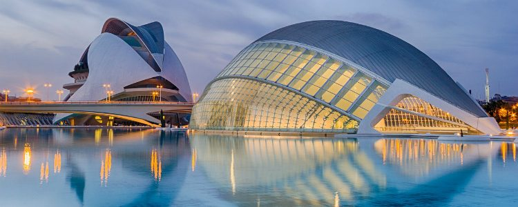 Exterior of the futuristic City of Arts and Sciences in Valencia