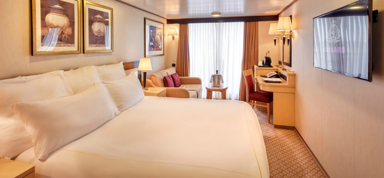 A Britannia Club Balcony stateroom on Cunard Queen Elizabeth